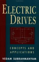Electric Drives Concepts and Applications cover