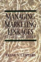 Managing Marketing Linkages Text, Cases, and Readings cover